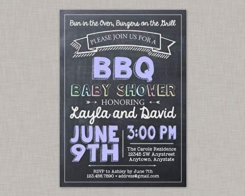 Zhaoshoping BBQ Baby Shower Einladung Baby Q Einladung Baby Q Pärchen Dusche Coed Kreidetafel Home Holzschild Funny Craft Wanddekoration