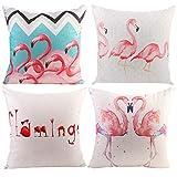 JOTOM Weiche Baumwolle Leinen Kissenbezüge Startseite Dekorative Kissen Fall 45 x 45cm 4 er Set (Flamingos)
