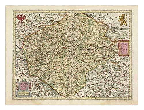 the Blaeu Prints | Bohemia - Carte Historique Imprimã©e de l'Atlas Antique par Joan Blaeu - Ancienne Carte, y Compris: Prague, Brno, Olomouc