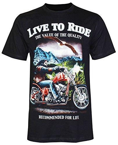 PALLAS Unisex's Motorcycle Club Vintage Live to Ride T-Shirt Black