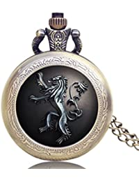 Game Of Thrones House Lannister Theme Retro Bronze Glass Dome Case Pendant Pocket Watch With Necklace Chain For...