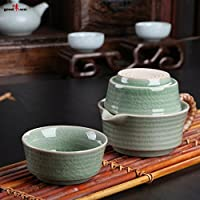 2en1 tradicional servicio de té asiático, hecho a mano a partir de celadón chino