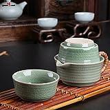 Goodwei Chinesisches Teeservice Wave für Zwei Personen - Tee-Set aus Seladon-Porzellan