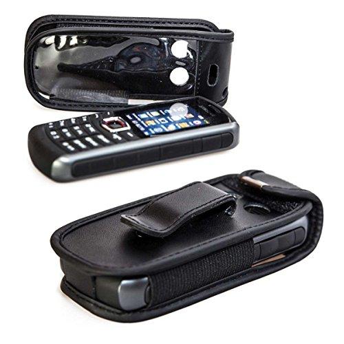 caseroxx Handy-Tasche Ledertasche mit Gürtelclip für Samsung B2710 aus Echtleder, Handyhülle für Gürtel (mit Sichtfenster aus schmutzabweisender Klarsichtfolie in schwarz)