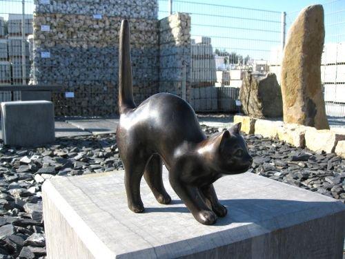 Natursteinzentrum Rhein Main Katze aus Bronze, GROß, mit Buckel - Bronze, Beton