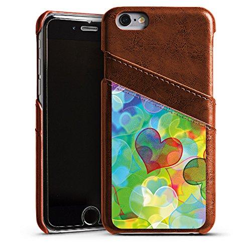 Apple iPhone 4 Housse Étui Silicone Coque Protection Amour Plexi Bunt C½ur Étui en cuir marron