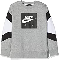 Nike B NK Air Crew Camiseta, Niños, Gris (dk Grey Heather/White/Black), L