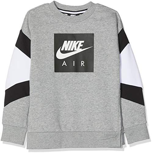 Nike Jungen Pullover B Nk Air Crew, Grau (Dk Grey Heather/White/Black 063), 140 (Herstellergröße: Medium)