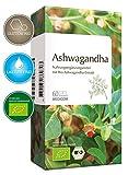 BIO Ashwagandha 60 Kapseln – Bio zertifiziert – 1000 mg Schlafbeere Extrakt Pulver pro Tagesdosis – mind. 5 % Withanoliden • 1-Monatsvorrat • Bekannt aus Ihrer APOTHEKE • Made in Germany