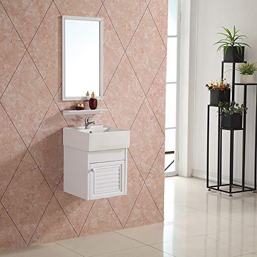 Badmöbel Set Cube Gäste WC Set Gästebad Badezimmer Unterschrank Waschtischunterschrank Waschbecken Wandspiegel Waschtisch T1 -