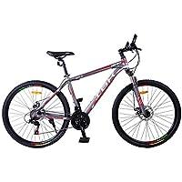 BICI BICICLETTA MTB IBK 27.5 HERO 7 VEL. SHIMANO FRONT SUSPENSION MOUNTAIN BIKE (Rosso/Grigio)
