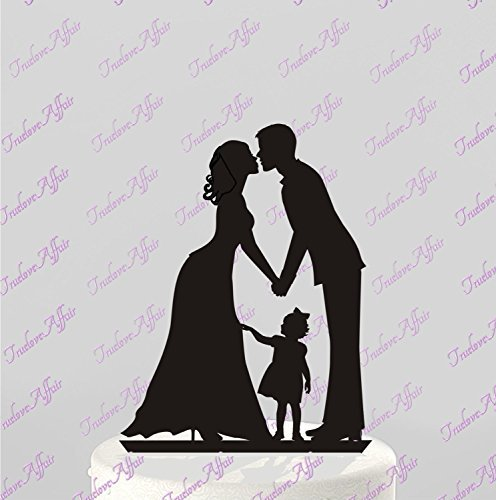 Kiss Bride and Groom Hand in Hand with a Girl Acrylic Wedding Cake Toppers Family Silhouette Anniversary Cake Topper by Generic