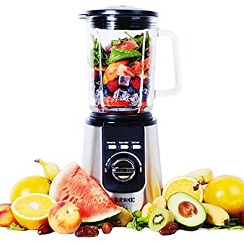 Duronic BL1200 Smoothie Maker Blender - Glass Jug | Stainless Steel | 1.8L | Pre Programmed for: Smoothies, Ice Crusher and Auto Clean - Powerful 1200W Motor