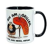 Tassenwerkstatt24 Grill-Tasse - Bin AM Grillen - eine schöne Geschenkidee, z.B. als Geburtstagsgeschenk für echte Männer (schwarz)
