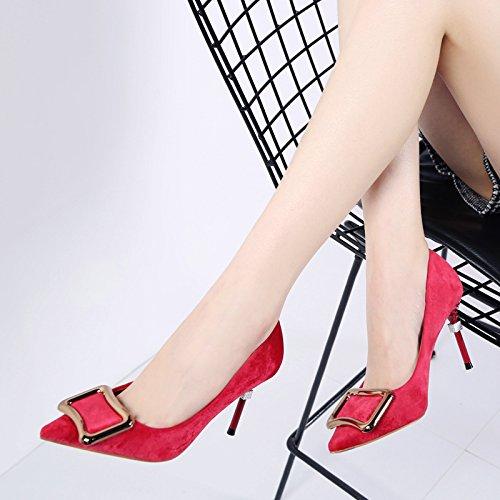 HGTYU-Signore... Le Scarpe Col Tacco Alto 8Cm Metallico Appuntito Le Donne Con Una Bella Cena Di Scarpe Scarpe Di Primavera gules