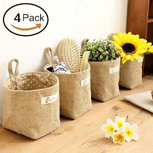 Lino algodón bolsa almacenamiento cesta plegable