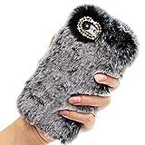 Girlyard Flauschig Haare Handyhülle für iPhone 6S Plus, Winter Weiche Warme Pelz Backcover Bling 3D Diamant Kristall S