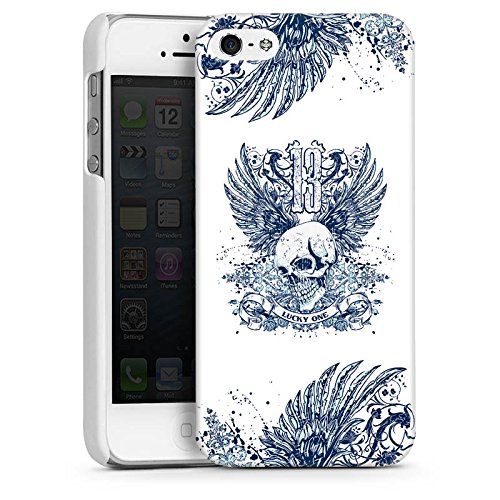 Apple iPhone 4 Housse Étui Silicone Coque Protection Tête de mort Tatouage Ailes CasDur blanc