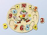 Holzuhr Lernuhr Holz mit Puzzle Zahlen Kinderuhr Clown