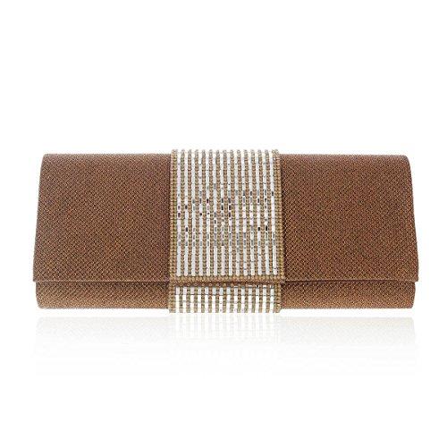 Damara® Adlige Damen Sequin Abend Handtaschen Mit Strass Kaffee