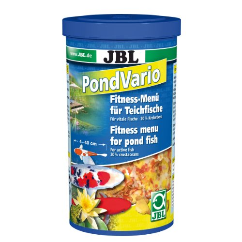 JBL 40290 Hauptfutter Mix für alle Teichfische, Futterflocken, Sticks, Krebstiere PondVario, 1 l