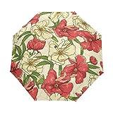 KJVBRDSF Sonnenschirm Blume Regenschirm Uv-Schutz Sonnencreme Damen Lila Farbe Automatischer Rucksack Regenschirm Wasserdicht 100% Polyester