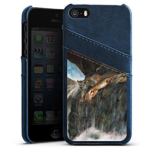 Apple iPhone 4 Housse Étui Silicone Coque Protection Félin Sauvage Étui en cuir bleu marine