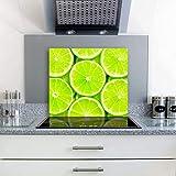 gsmarkt   Herdabdeckplatten Ceranfeldabdeckung Spritzschutz Glas 60x52 Zitrone Grün Obst