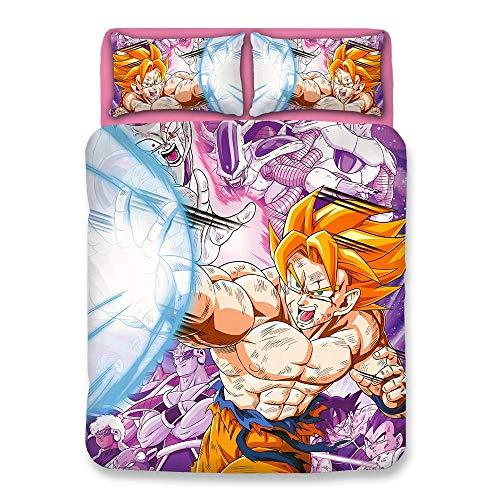 XLST Bettwäsche Set 3D Dragon Ball Z Goku 3 Stück Bettbezug Männer Teen Jungen Kinder,B,Twin - Bettbezug Männer Twin