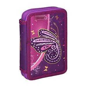 Spirit Estuche Escolar con diseño de Mariposa Violeta y 2 Cremalleras.