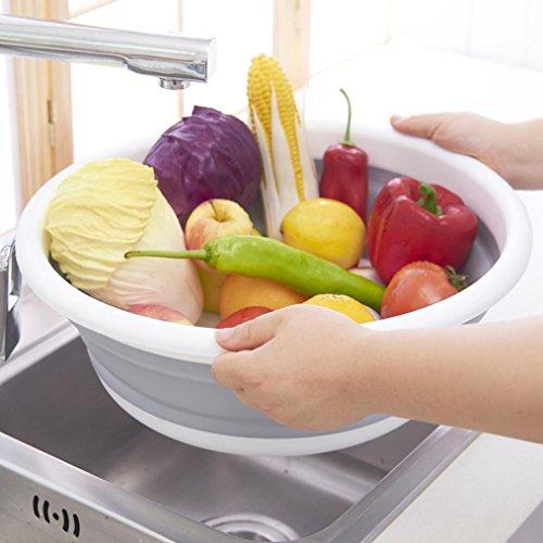 Xshuai (TM) multifonction Portable pliant en silicone Pots Lavabo pour lavage Fruits Légumes paniers de drainage de voyage Camping les pique-niques, gris, Size:37.5x13.5cm