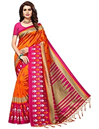 Applecreation Women'S Art Silk Saree With Blouse Piece (Orange&Pink_Apha1050_Free Size)