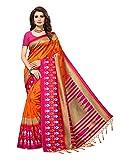 Applecreation Women'S Art Silk Saree With Blouse Piece (Orange&Pink_Free Size )