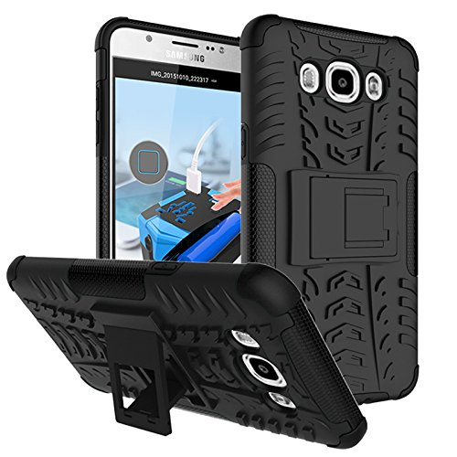 ImagineDesign™ Defender Tough Hybrid Armour Shockproof Hard PC + TPU with Kick Stand Rugged Back Case Cover for Samsung Galaxy J7 - Black