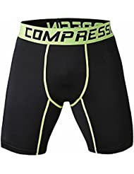 TOOGOO(R) New Running Sport Mens Basketball Tight Compression Shorts Gym Fitness Clothing Training Wicking Short Pants Homme Men(Black green line XL)
