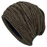 Kuyou Winter Beanie Mütze Slouch Strickmütze mit warmem Fleece Innenfutter (Khaki)