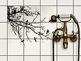 creatisto Fliesen aufkleben | Muster-Fliesenfolie Badezimmerfliesen Dekofolie Küchengestaltung | 15x15 cm Design Motiv Tree and Birds 1-9 Stück