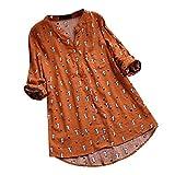Darringls Remera Mujer,Camisetas Talla Grande Hoodie Blusa Algodón de Lino Remera Cosiendo Manga Larga (Naranja 3, M)