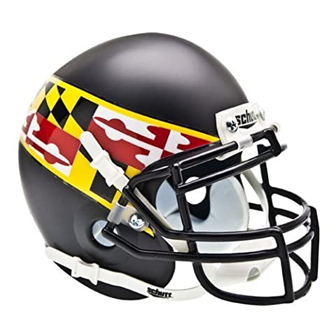 NCAA Maryland Terrapins Flag Collectible Alt 2 Mini Helmet, Matte Black by Schutt