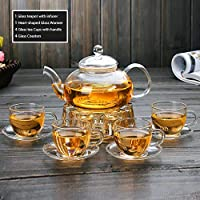 Clear Glass Teapot Tea Set with Infuser 4 glass Tea Cups and Saucers 1 Heart Shape Crystal Glass Warmer Base,Glass Tea Maker Kettle with Strainer Blooming Loose Leaf tea pot