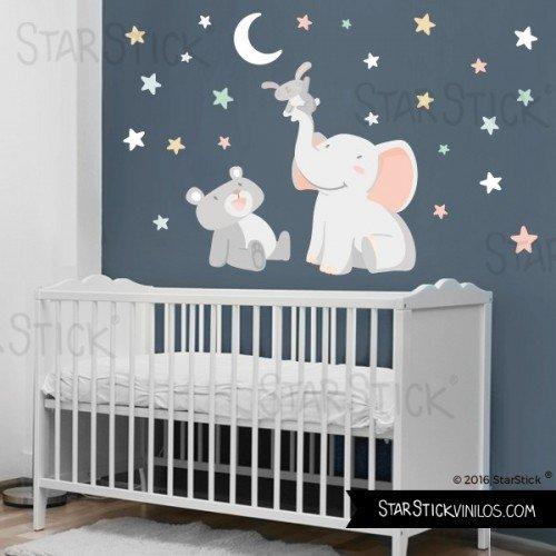 Vinilo bebé Animales tocando la luna blanca 120x70 cm - Vinilos infantiles...