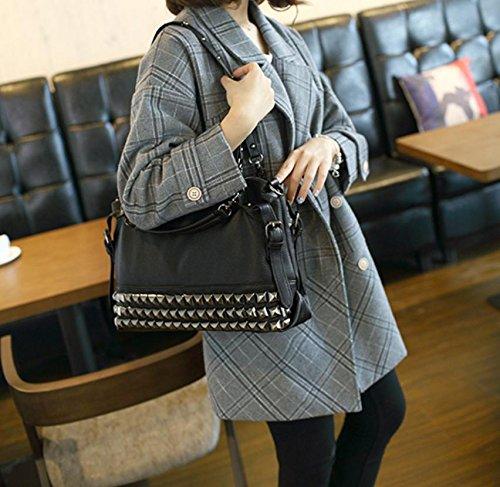 X&L Frauen ist Mode niet Motorrad-Tasche Schulter Handtasche Diagonal-Tasche Black