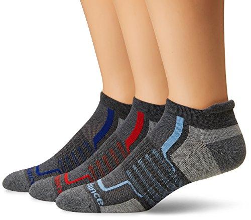 New Balance Herren Performance Low Cut Tab Socks -3 Pairs Grey/Black/Blue/Red, Large -