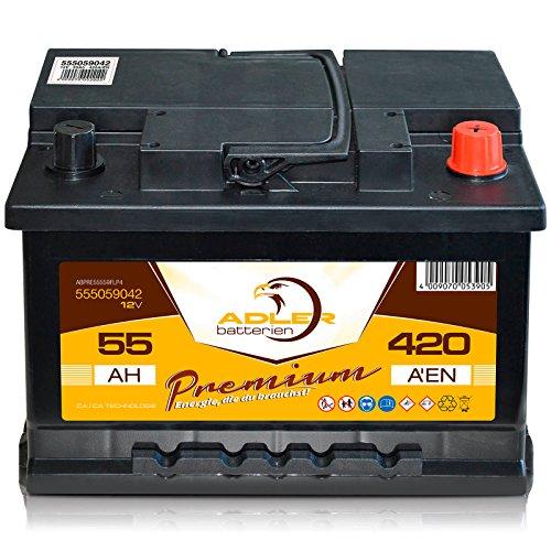 Autobatterie 12 V / 55 Ah - 420 A/EN 55559 Adler ers. 45 50 52 53 54 55 60 Ah