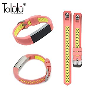 For Fitbit Alta / Alta HR Colorful Hollow Watch Band Bangle Strap Bracelet+Metal Buckle For Fitbit Alta / Alta HR Sports Silicone Accessory Band Strap Wristband Bracelet -Pink/Yellow