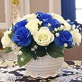 Flor Artificial Flor Artificial DIY Flor Falsa Y Florero De Plástico Bouquet para La Decoración De La Oficina De La Boda del Home Garden Party - Azul Oscuro