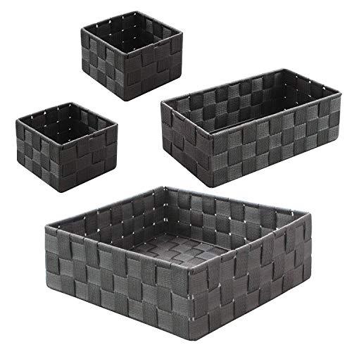 WM Homebase 4er Set Aufbewahrungskörbe geflochten Aufbewahrungsbox Polypropylen Regalkorb Badkorb in Grau
