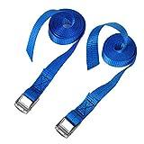 CSTOM 2x 250kg Cinghie di Fissaggio con Fibbia Tensionamento Rapido - 2.5m x 25mm, Blu
