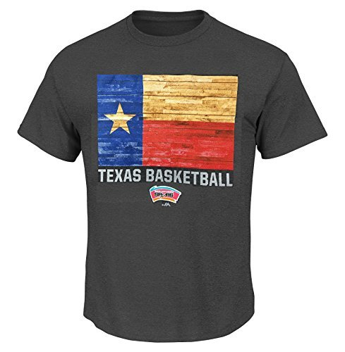 Majestic San Antonio Spurs NBA Herren Texas Basketball State Pride T-Shirt, Mädchen damen Jungen unisex Herren, Charchoal