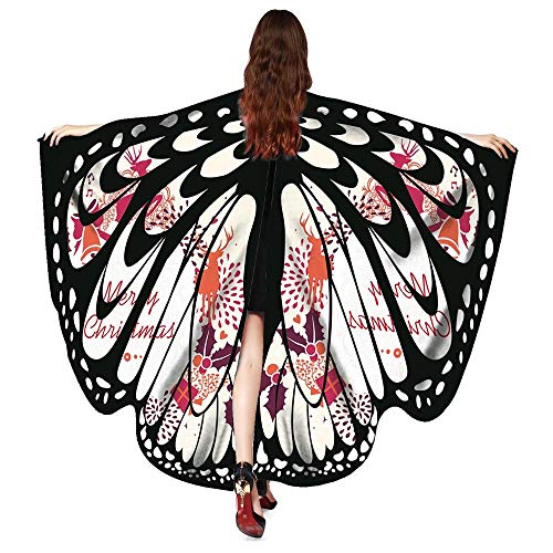 WOZOW Damen Schmetterling Flügel Kostüm Nymphe Pixie Schals Poncho Umhang Faschingkostüme Kostümzubehör Zubehör (Weiß)